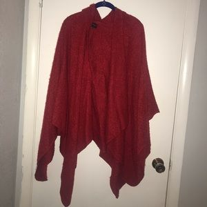 Boutique | Red Long High Low Poncho Cardigan